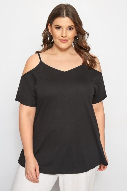 Plus Size Bardot & Cold Shoulder Tops Black Cold Shoulder Top