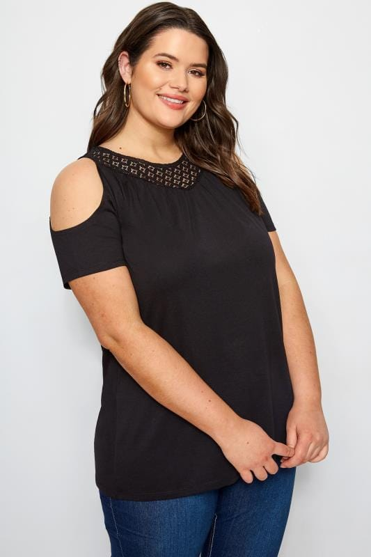 Plus Size Bardot & Off The Shoulder Tops Black Cold Shoulder Top