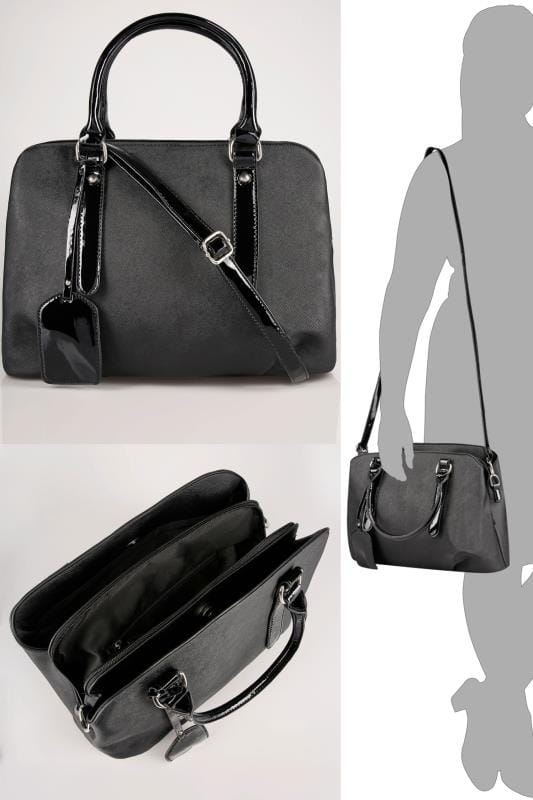 Black Compartment Grab Bag With Patent Trims & Extended Strap