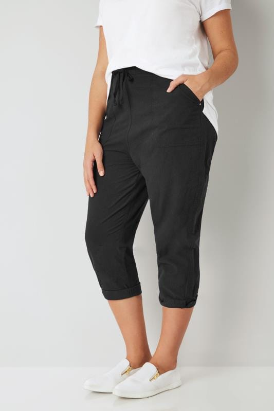 Plus Size Cool Cotton Crops Black Cool Cotton Cropped Trousers