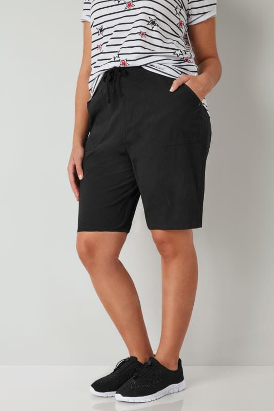 Plus Size Cotton Shorts Black Cool Cotton Pull On Shorts