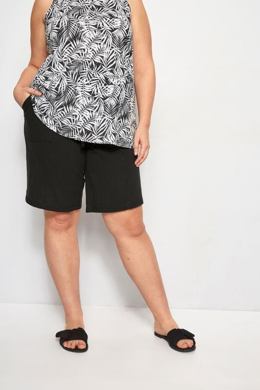 Plus Size Cool Cotton Shorts Black Cool Cotton Pull On Shorts