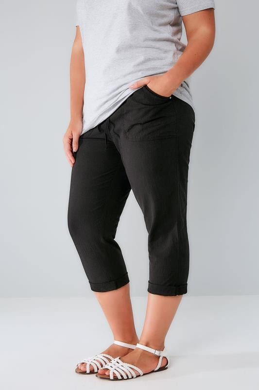 Black Cool Cotton Pull On Tapered Cropped Trousers