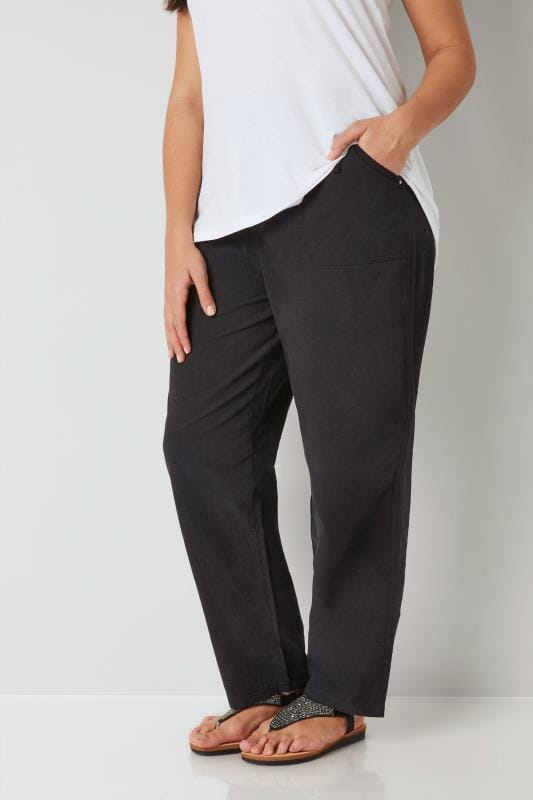 Plus Size Cool Cotton Trousers Black Cool Cotton Pull On Wide Leg Trousers