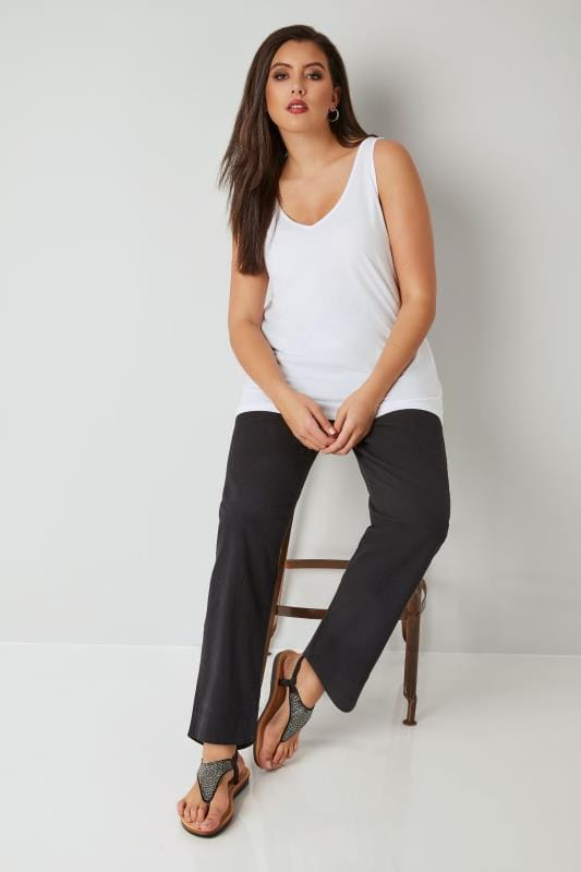 Black Cool Cotton Pull On Wide Leg Trousers