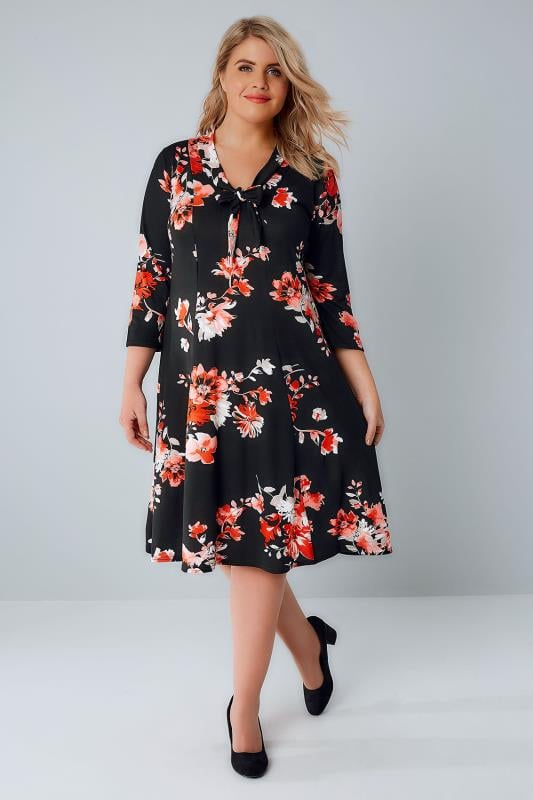 Black & Coral Floral Print Dress With Pussy Bow