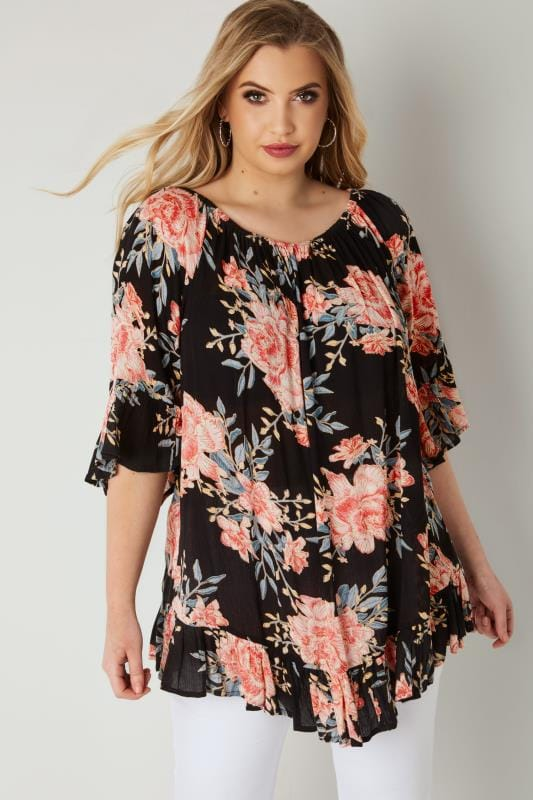 Black & Coral Floral Print Gypsy Top With Bell Sleeves