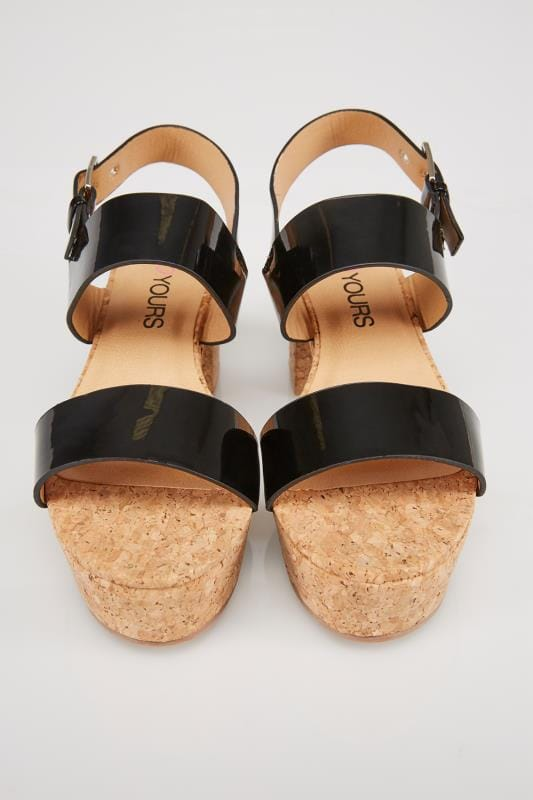 Black & Cork Platform Sandals In EEE Fit