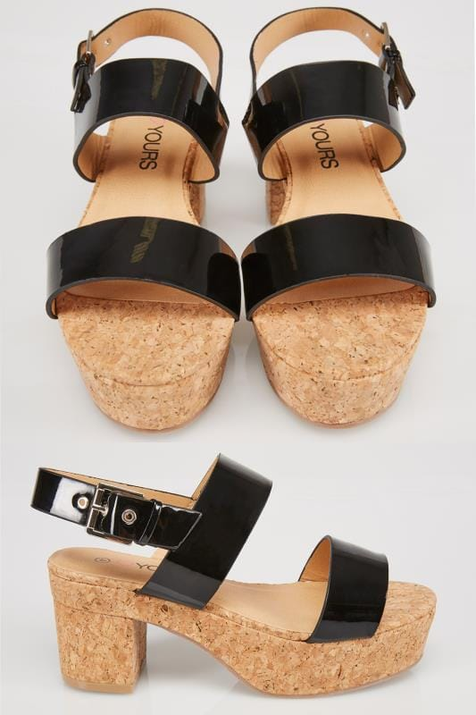 Wide Fit Wedges Black & Cork Platform Sandals In EEE Fit