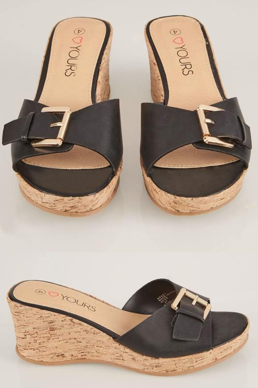 Wide Fit Wedges Black Cork Wedge Mule In EEE Fit