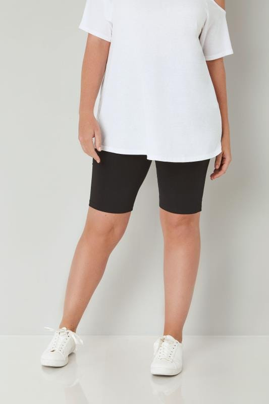 Black Cotton Essential Legging Shorts