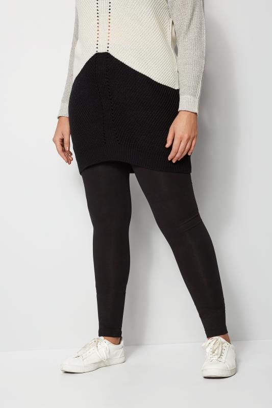 6bee4ee5445286 Plus Size Basic Leggings Black Cotton Essential Leggings