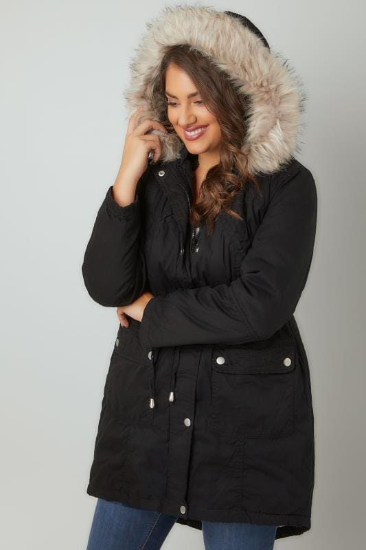 Black Cotton Parka With Faux Fur Trim Hood