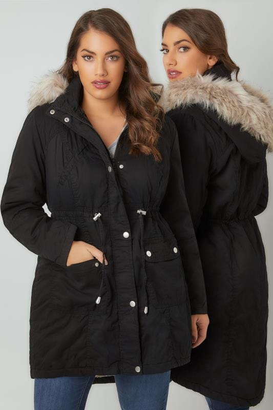 Black Cotton Parka With Faux Fur Trim Hood Plus Size 16 To 36
