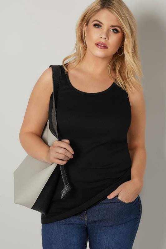 Plus Size Basic T-Shirts & Vests Black Cotton Vest Top