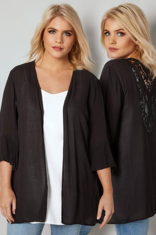 Plus Size Cover Ups Black Cover-Up With Crochet Back & Flute Sleeves