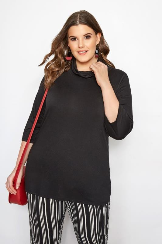 Plus Size Basic T-Shirts & Vests LIMITED COLLECTION Black Cowl Neck Top