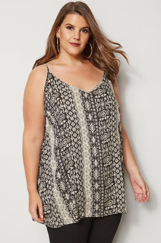 dbd7443482cac5 Plus Size Vests   Camis Black   Cream Printed Woven Cami Top