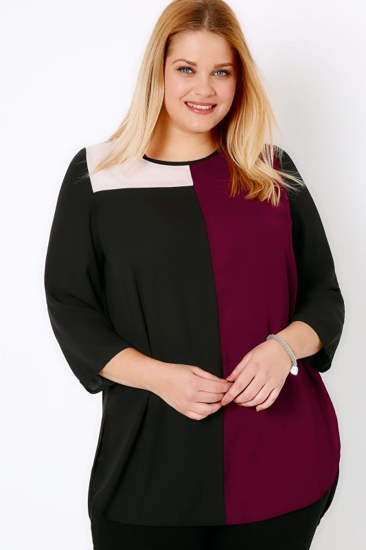Black, Cream & Wine Colour Block Longline Top With Side Splits