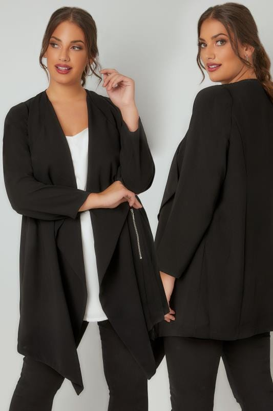 Black Crepe Longline Waterfall Jacket