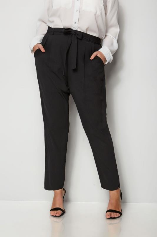 Plus Size Tapered & Slim Fit Trousers Black Crepe Tapered Trousers