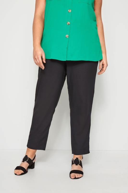 Plus Size Tapered & Slim Leg Pants Black Crepe Tapered Trousers