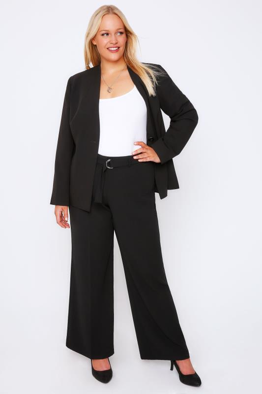 Black Crepe Wide Leg Trousers With Silver Ring Belt