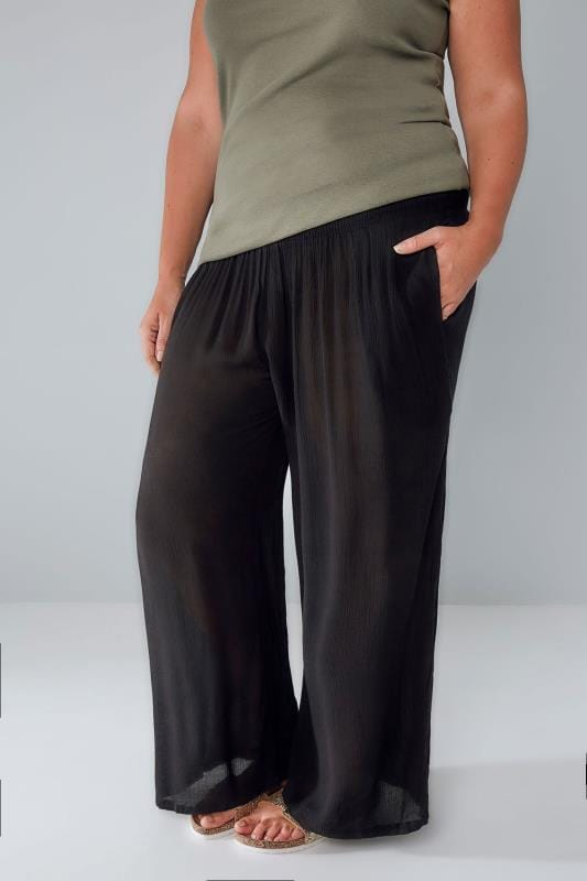 Black Crinkle Wide Leg Trousers With Ruched Elasticated Waist Panel