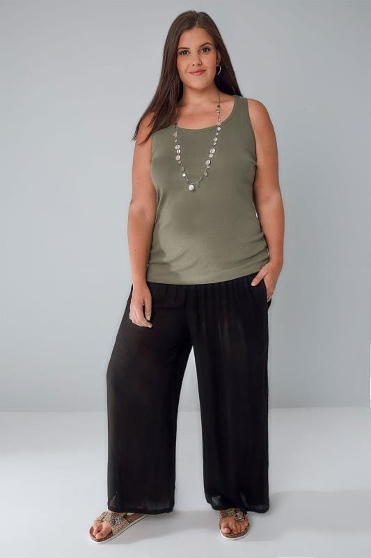 Black Crinkle Wide Leg Trousers With Ruched Elasticated -3623