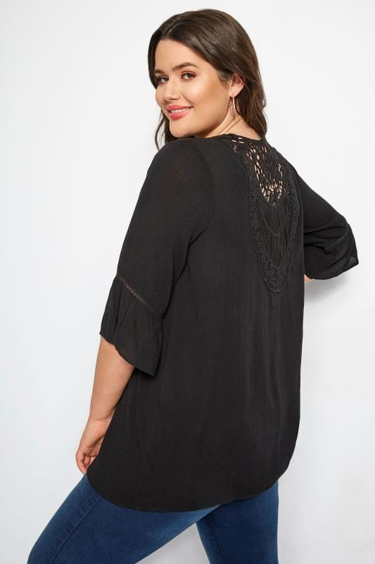 Plus Size Cover Ups Black Crochet Cover Up