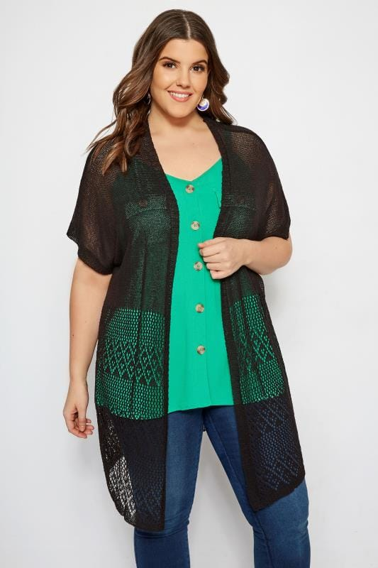 Plus Size Cardigans Black Crochet Effect Cardigan