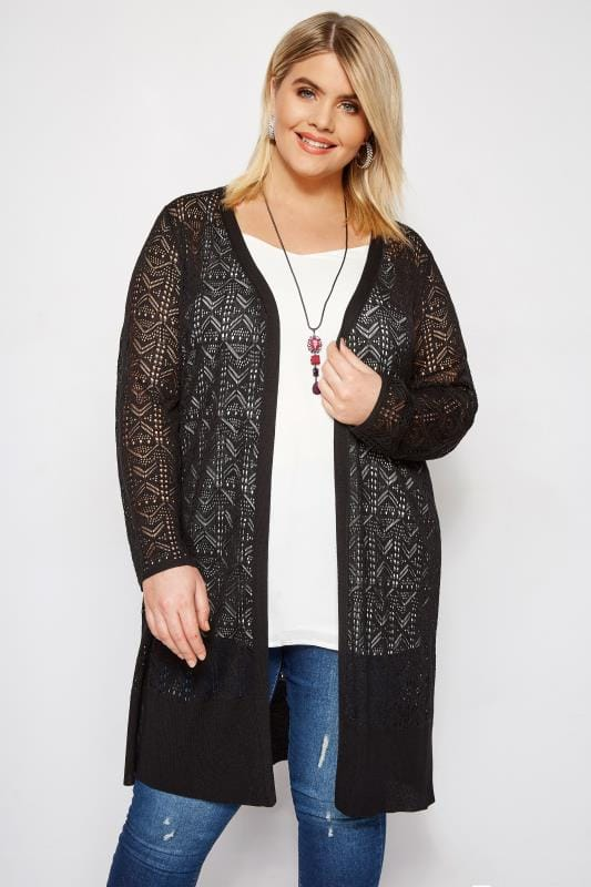 Plus Size Cardigans Black Crochet Effect Longline Cardigan