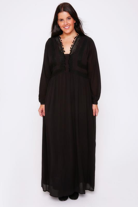 Black Crochet Long Sleeve Maxi Dress With Pom Pom Detail