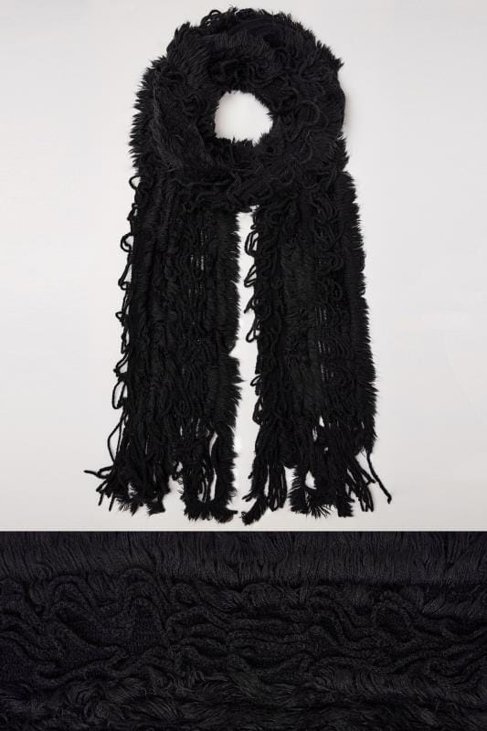 Scarves Black Crochet Scarf With Frayed Trim 152466