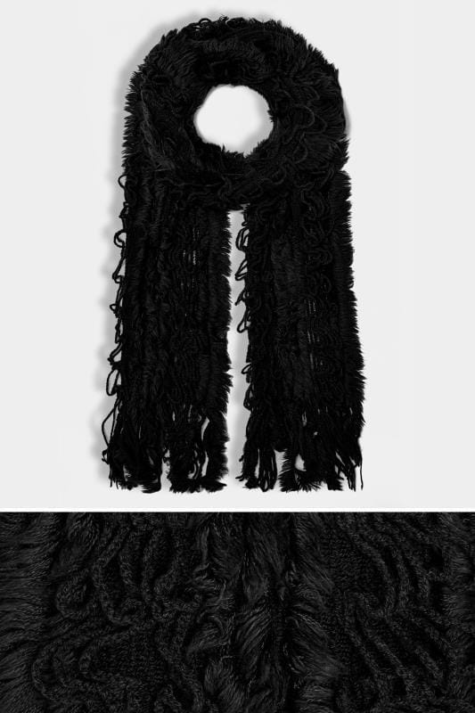 Black Crochet Scarf With Frayed Trim