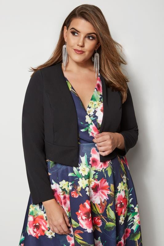 Plus Size Shrugs Black Cropped Bolero Jacket