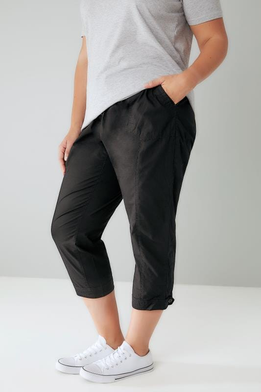 Black Cropped Cotton Trousers With Ribbed Waistband