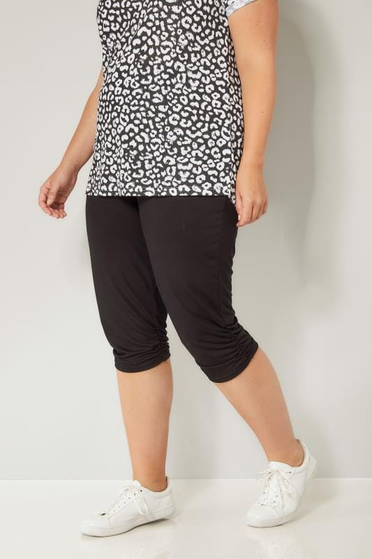 Plus Size Cropped Pants Black Cropped Harem Trousers