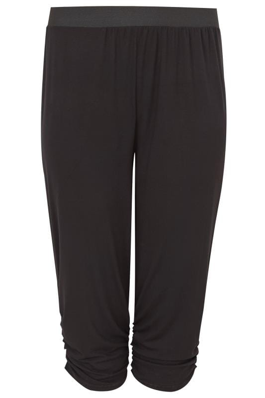 Plus Size Cropped Trousers Black Cropped Harem Trousers