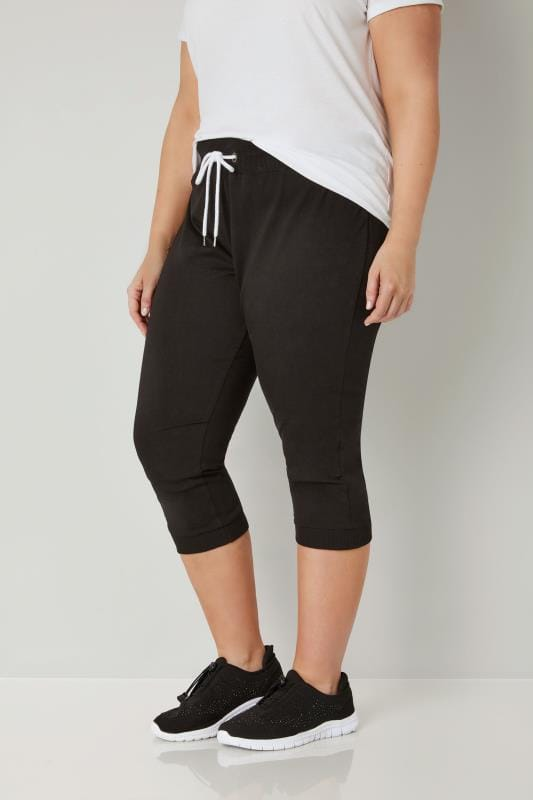 Plus Size Tracksuit Pants Black Cropped Joggers
