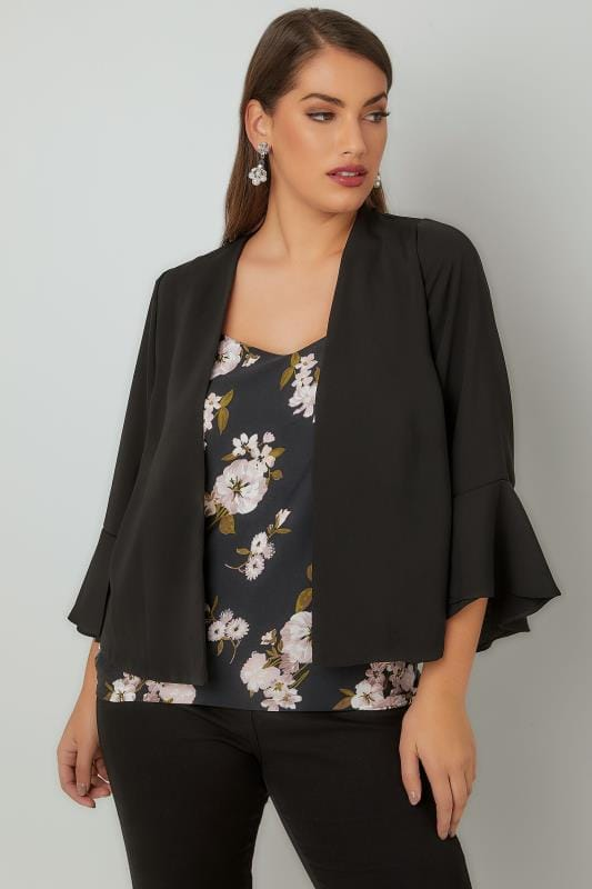 Plus Size Blazers Black Cropped Kimono Jacket With Flute Sleeves