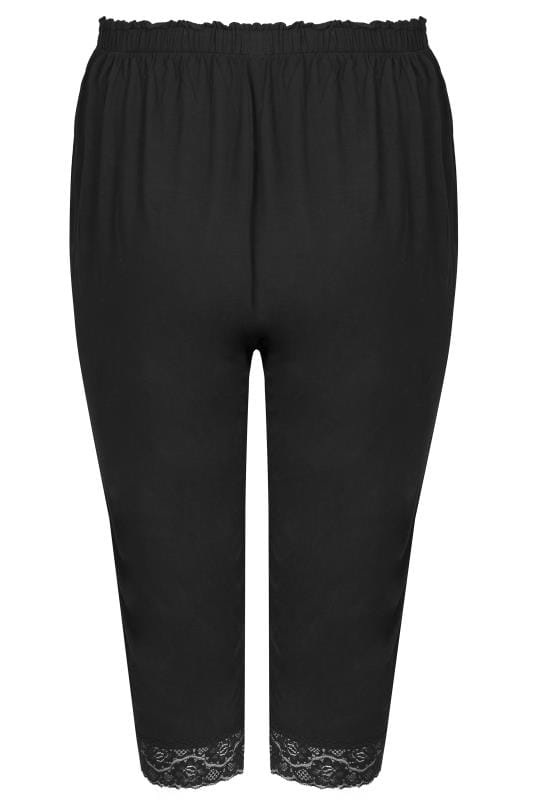 Black Cropped Pyjama Bottoms With Lace Trim