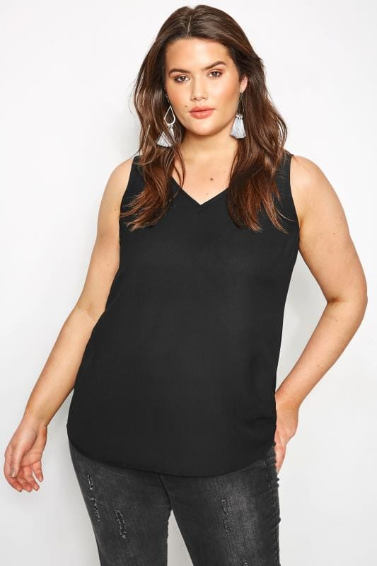 Plus Size Vests & Camis Black Cross Back Cami