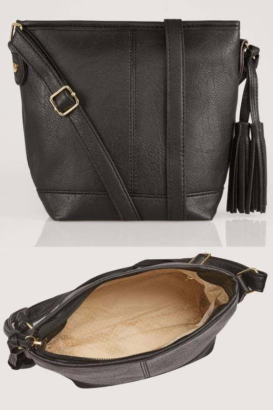 Black Cross Body Bag With Tassel Detail