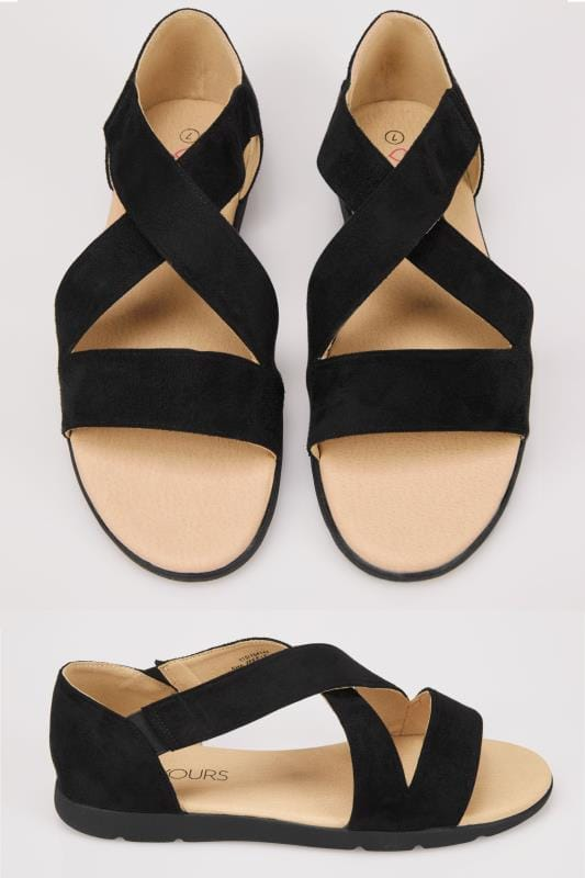 Wide Fit Sandals Black Cross Over Strap Sandals In True EEE Fit