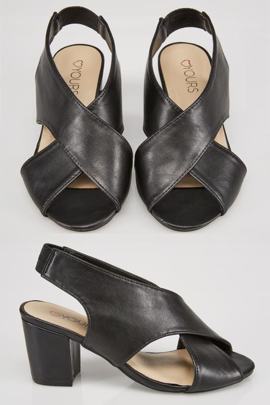 Black Crossover Block Heel Sandal In EEE Fit