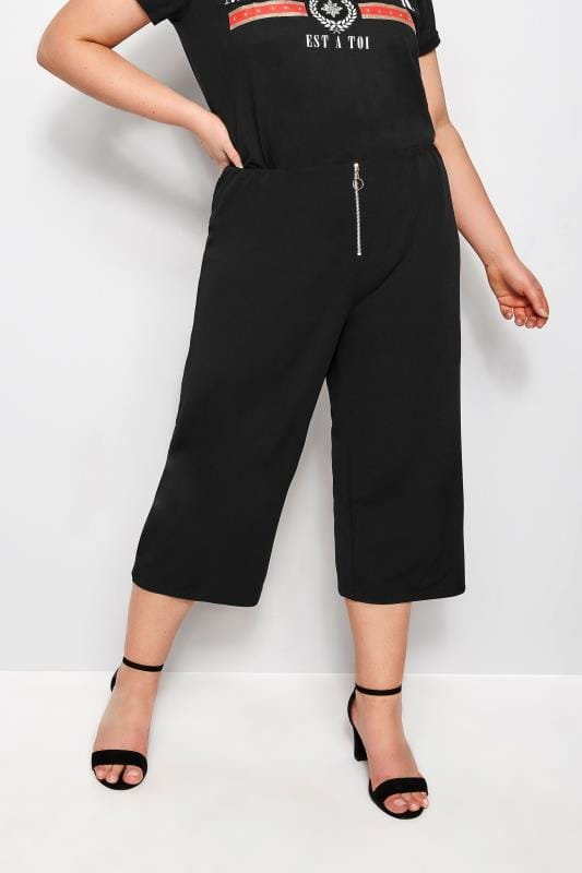 Plus Size Culottes Black Culottes With Ring Detail