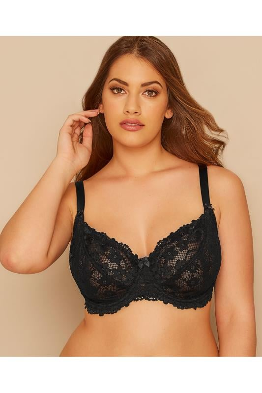 Black Daisy Lace Underwired Bra