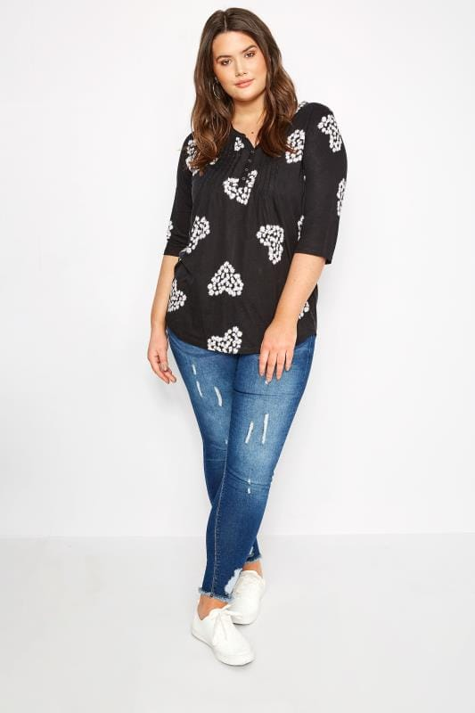 Black Daisy Pintuck Jersey Top