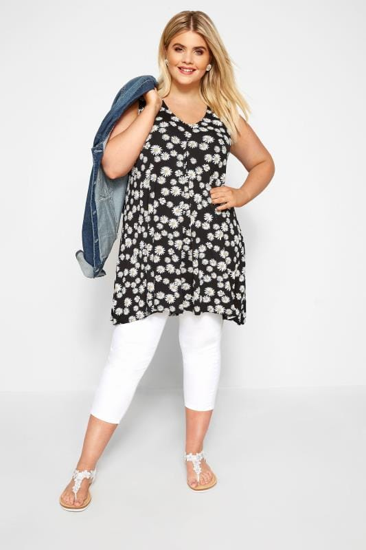Black Daisy Print Swing Vest Top